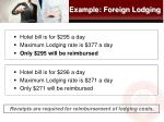 example foreign lodging