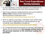 non travel expenditures reimbursements