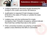 subsistence allowance lodging