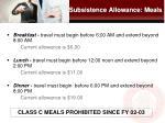 subsistence allowance meals