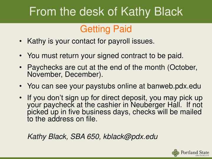 From the desk of Kathy Black