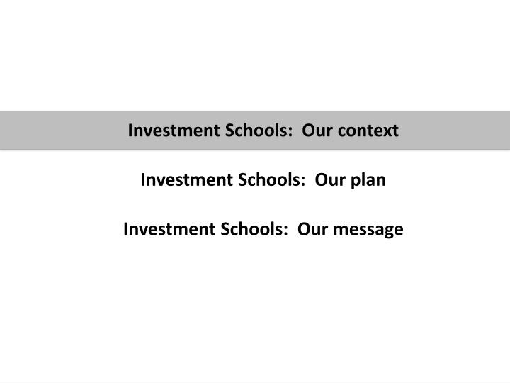 Investment Schools:  Our context