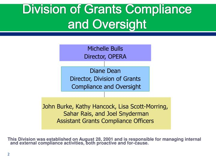Division of grants compliance and oversight