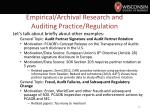 empirical archival research and auditing practice regulation2