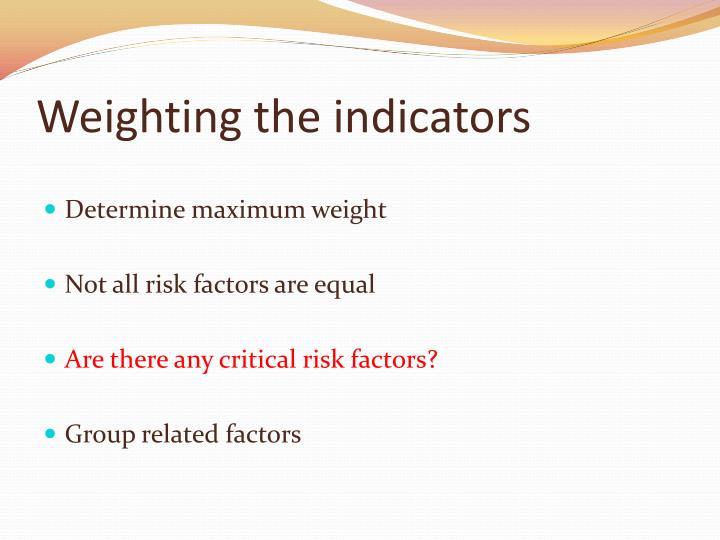 Weighting the indicators