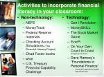 activities to incorporate financial literacy in your classroom