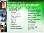 first and foremost your business community