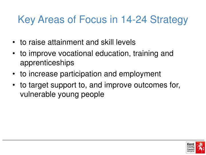 Key Areas of Focus in 14-24 Strategy