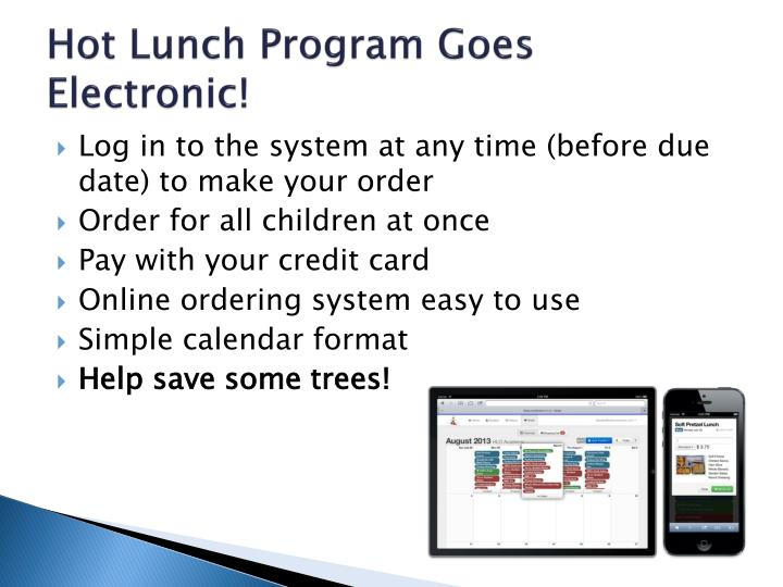 Hot Lunch Program Goes Electronic!