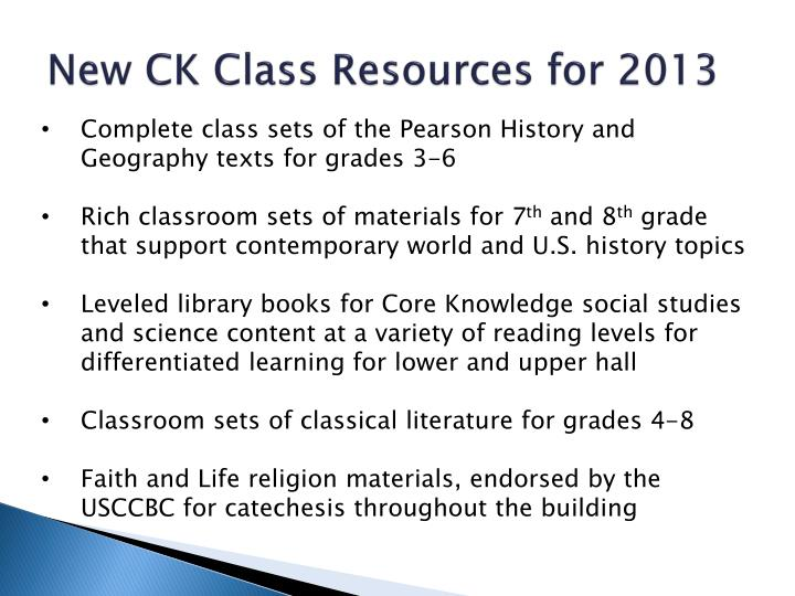 New CK Class Resources for 2013