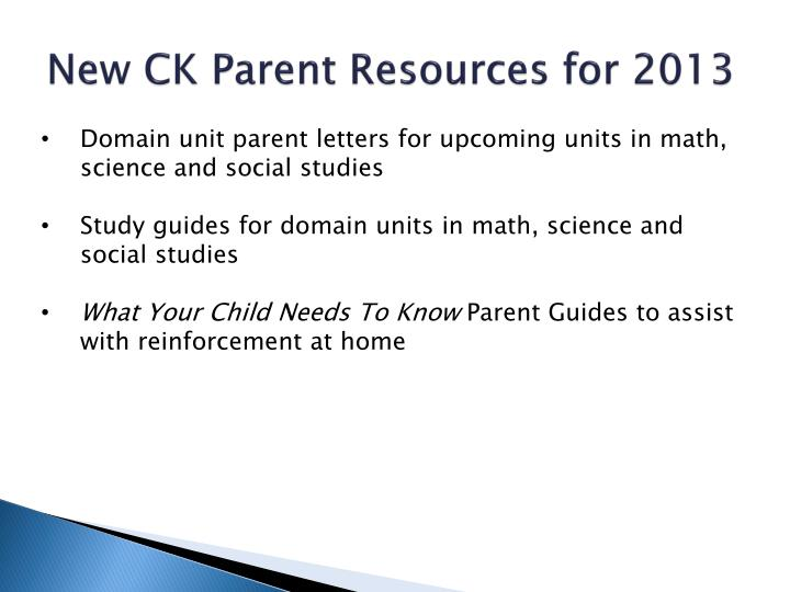 New CK Parent Resources for 2013