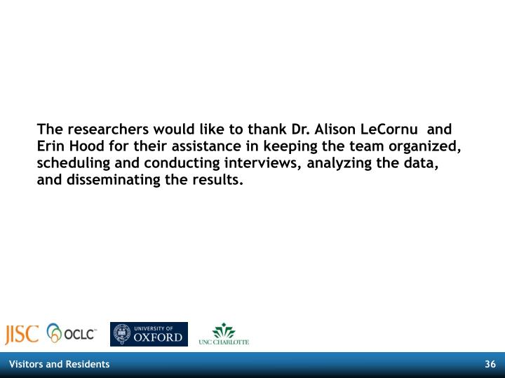 The researchers would like to thank Dr. Alison LeCornu  and Erin Hood for their assistance in keeping the team organized, scheduling and conducting interviews, analyzing the data, and disseminating the results.