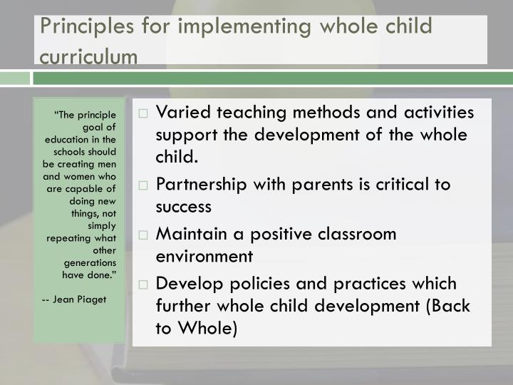 Principles for implementing whole child curriculum