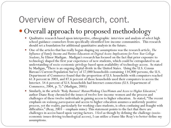 Overview of Research, cont.