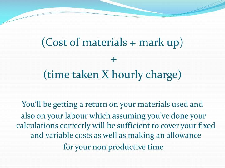 (Cost of materials + mark up)