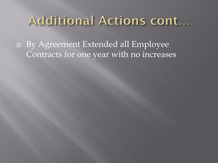 Additional Actions cont…
