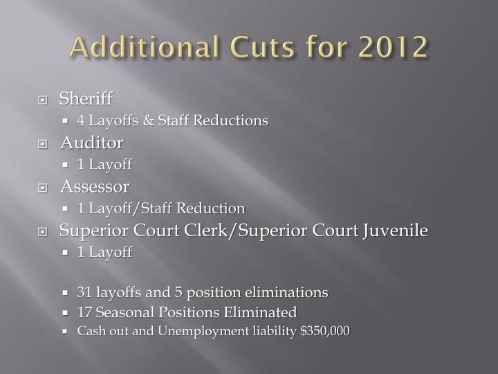 Additional Cuts for 2012