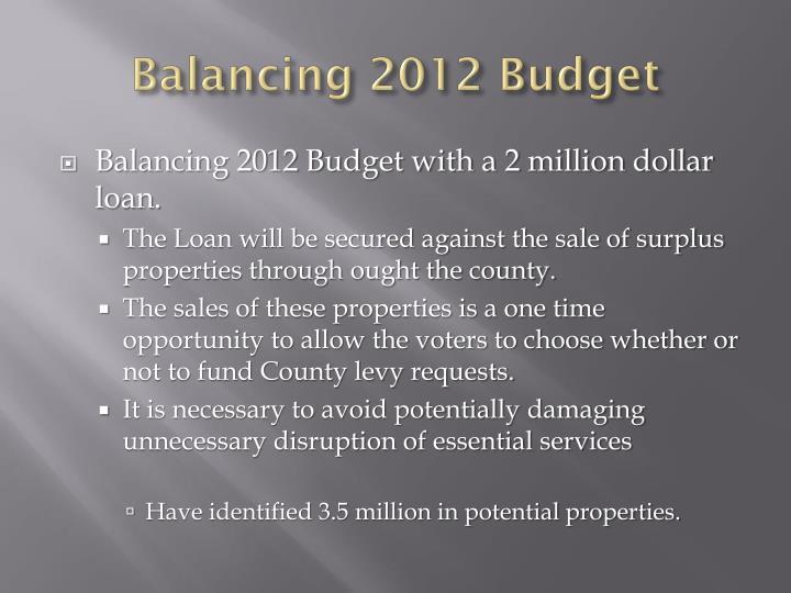 Balancing 2012 Budget