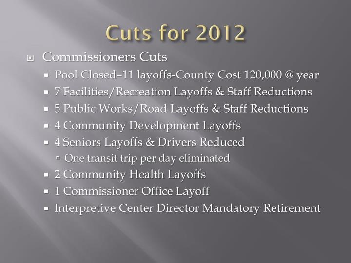 Cuts for 2012