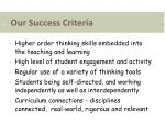 our success criteria