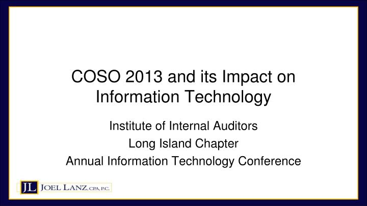 coso 2013 and its impact on information technology n.