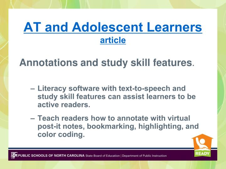 AT and Adolescent Learners