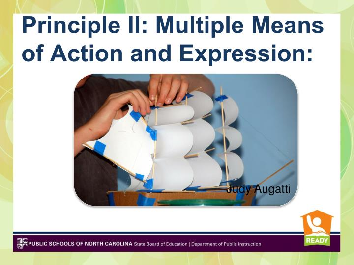 Principle II: Multiple Means of Action and Expression: