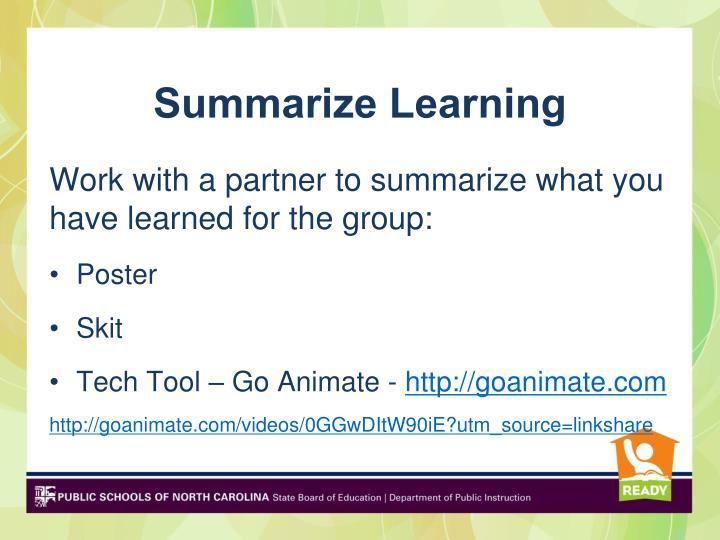 Summarize Learning