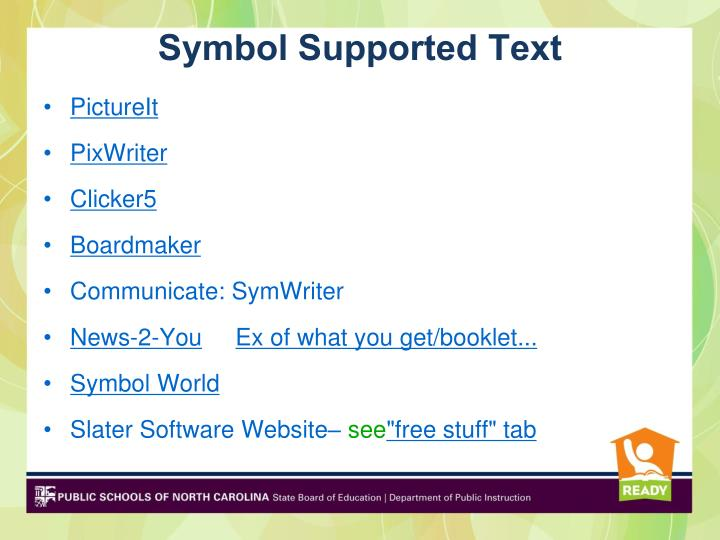 Symbol Supported Text