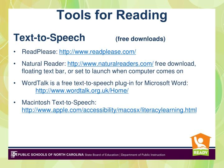 Tools for Reading