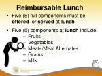 reimbursable lunch