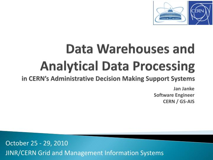 Data Warehouses and Analytical Data Processing