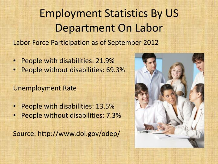 Employment statistics by us department on labor