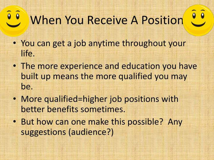 When You Receive A Position