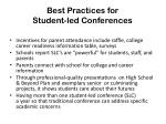 best practices for student led conferences