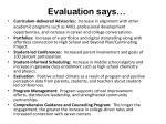 evaluation says