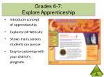 grades 6 7 explore apprenticeship