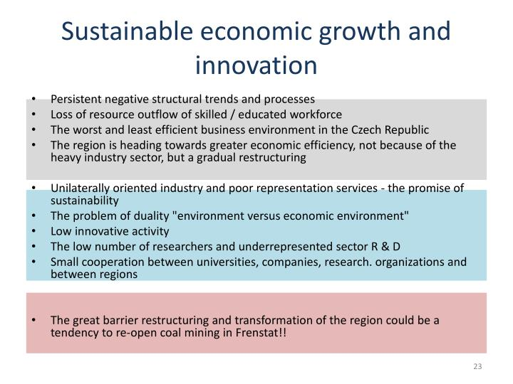 Sustainable economic growth and innovation