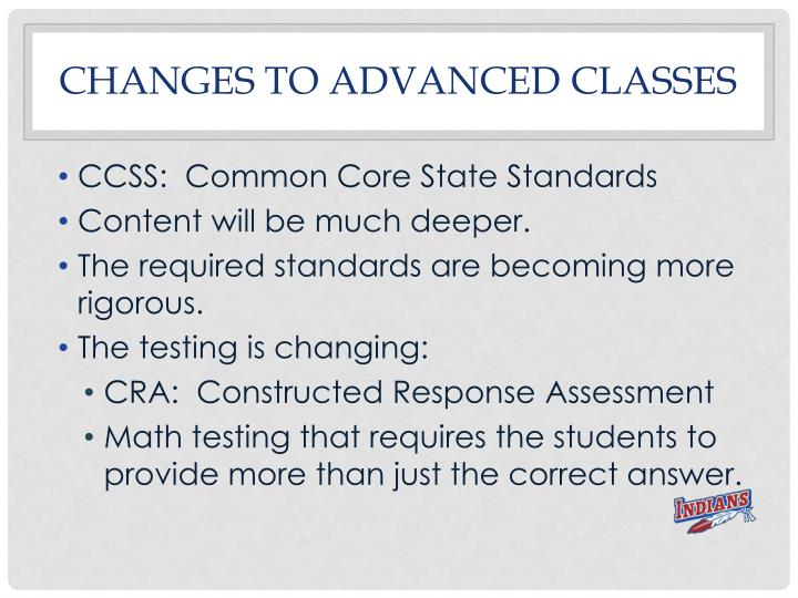 Changes to advanced