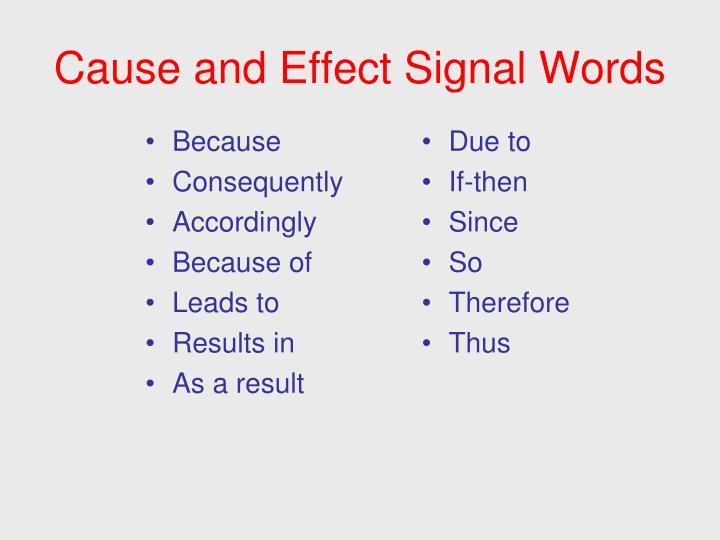 signal words for cause