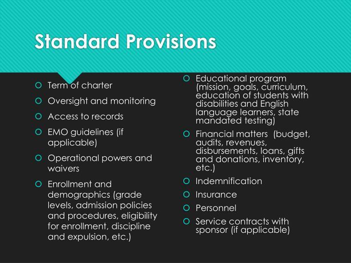 Standard Provisions