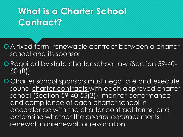 What is a charter school contract