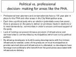 political vs professional decision making for areas like the pha