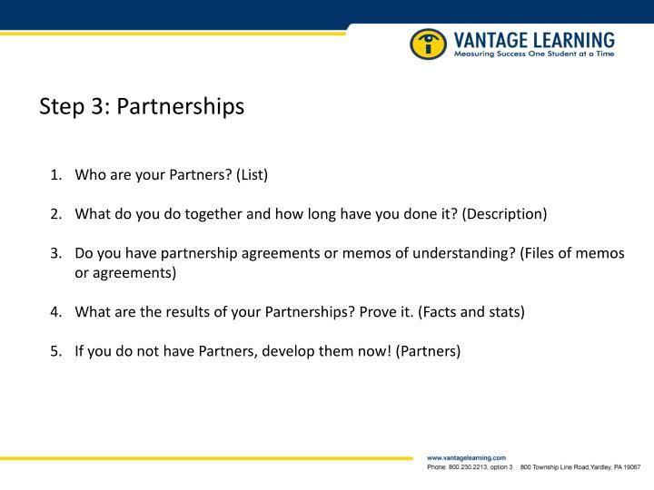 Step 3: Partnerships