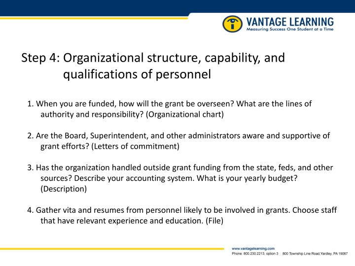 Step 4: Organizational structure, capability, and   qualifications of personnel