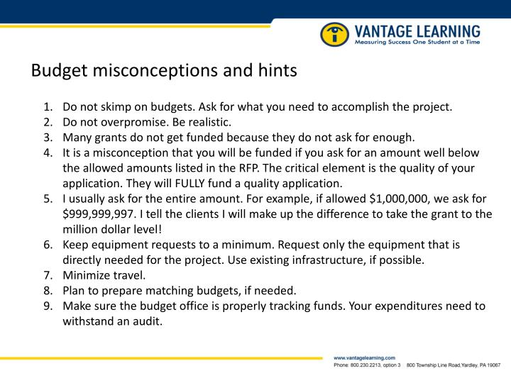 Budget misconceptions and hints