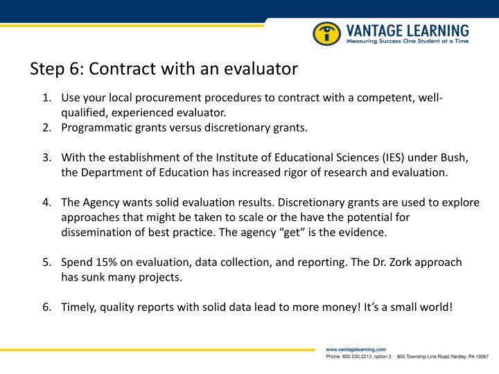 Step 6: Contract with an evaluator