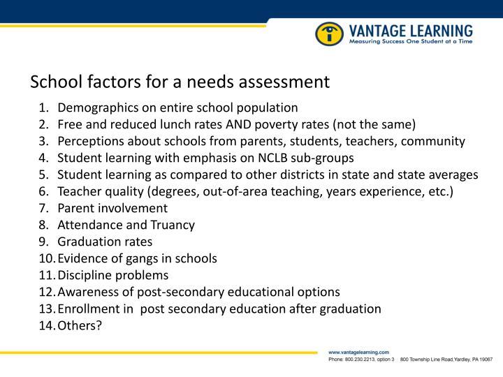 School factors for a needs assessment