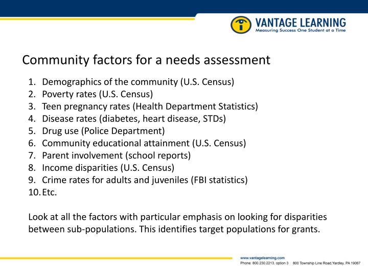 Community factors for a needs assessment