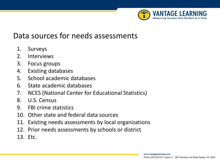 Data sources for needs assessments